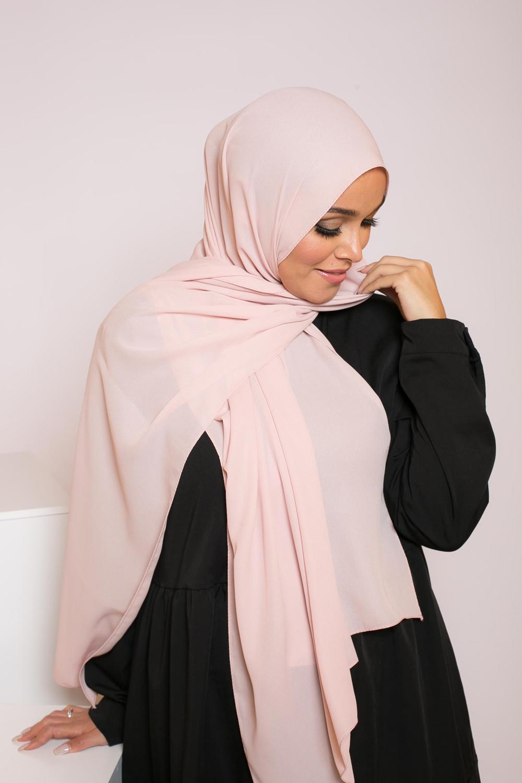 hijab mousseline rose poudré