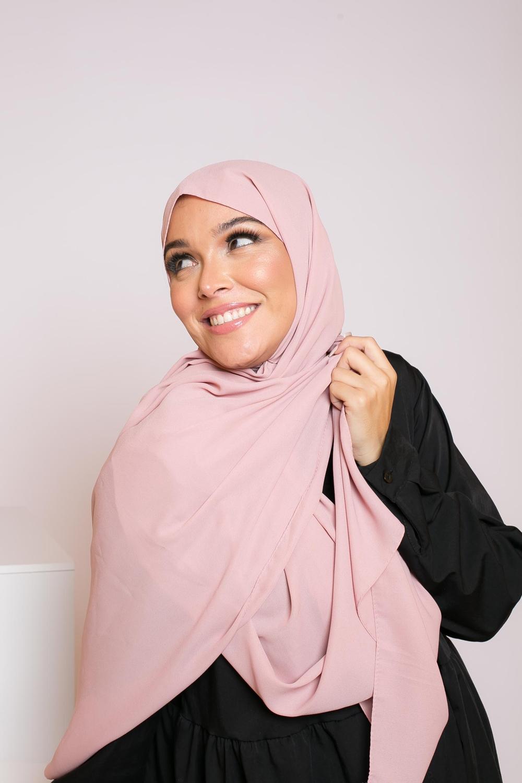 hijab mousseline vieux rose