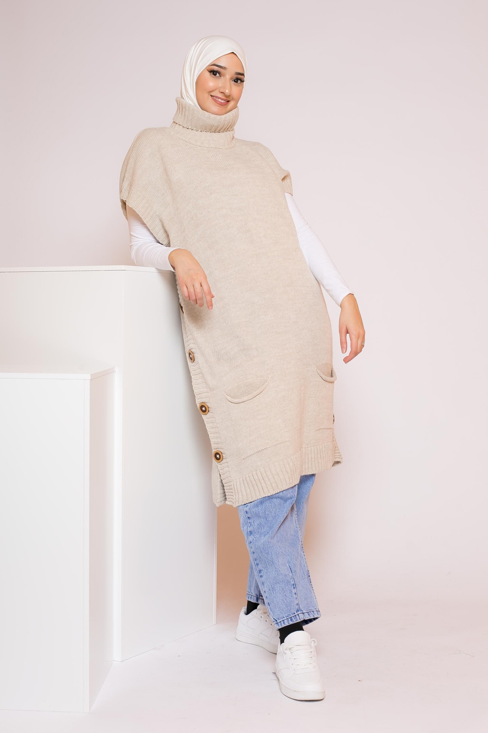 Pull pancho beige
