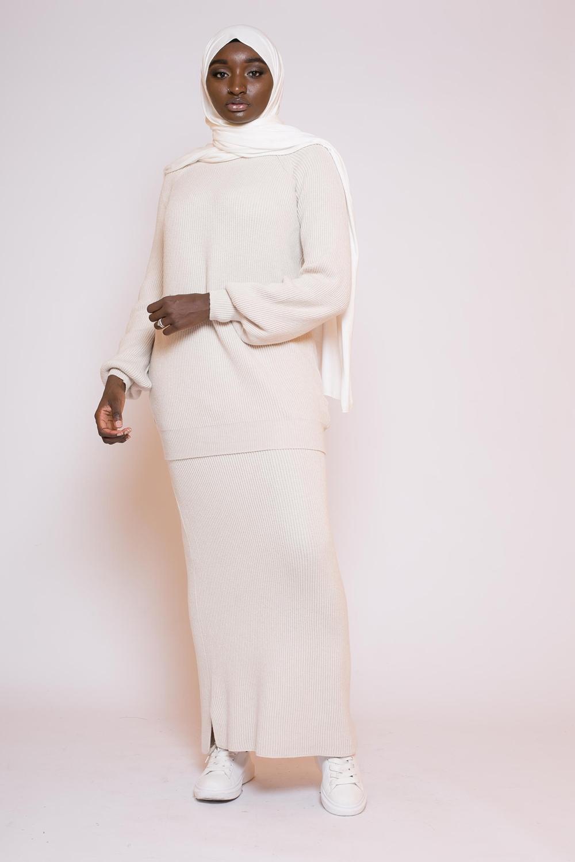 Ensemble jupe pull beige