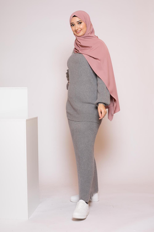 Ensemble jupe pull gris