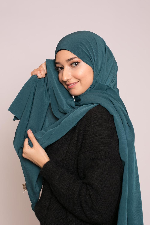 Hijab sedef krinkle vert foncé