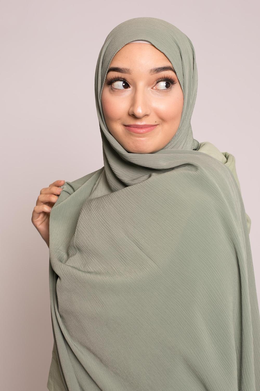 Hijab sedef krinkle sauge