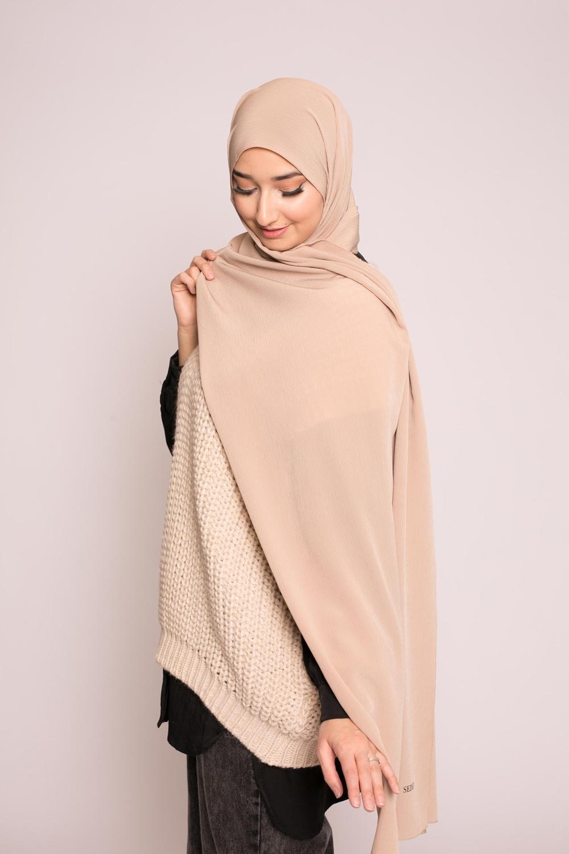 Hijab sedef krinkle beige foncé