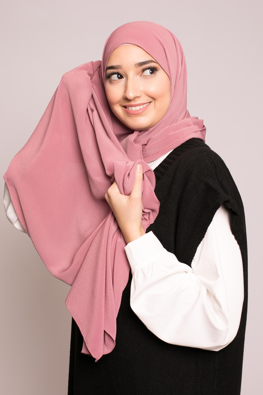 Hijab sedef krinkle rose boisé