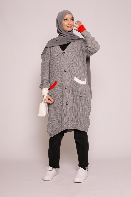 Gilet long bi color gris
