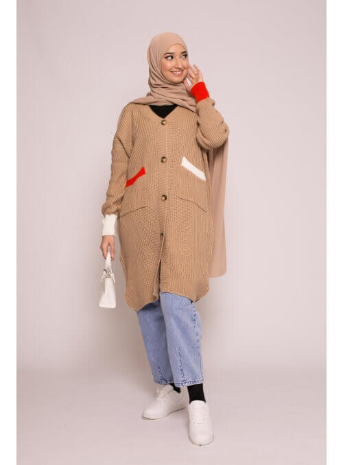 Gilet long bi color beige nouvelle collection femme musulmane boutique hijab