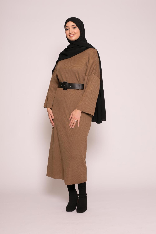 Robe large d'hiver moka