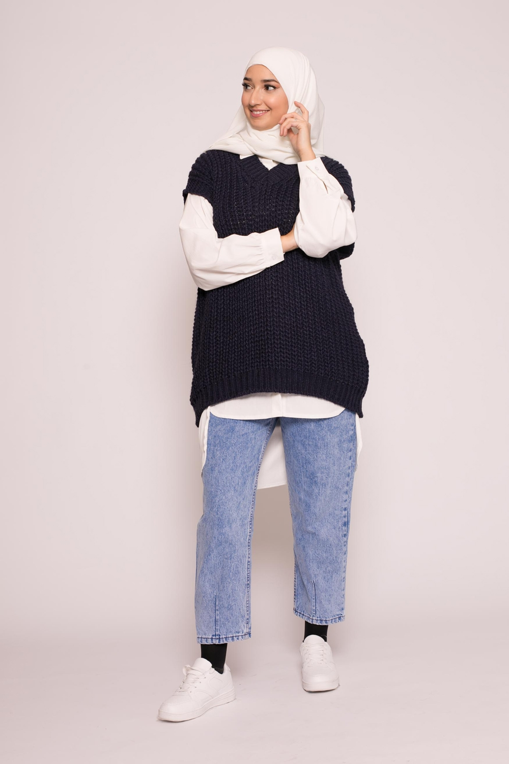 Pull tricot maille bleu