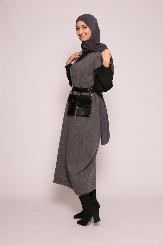 robe pull sans manche gris
