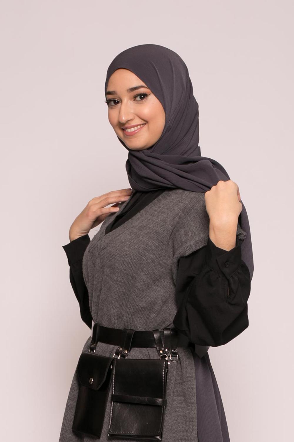Hijab sedef krinkle gris foncé