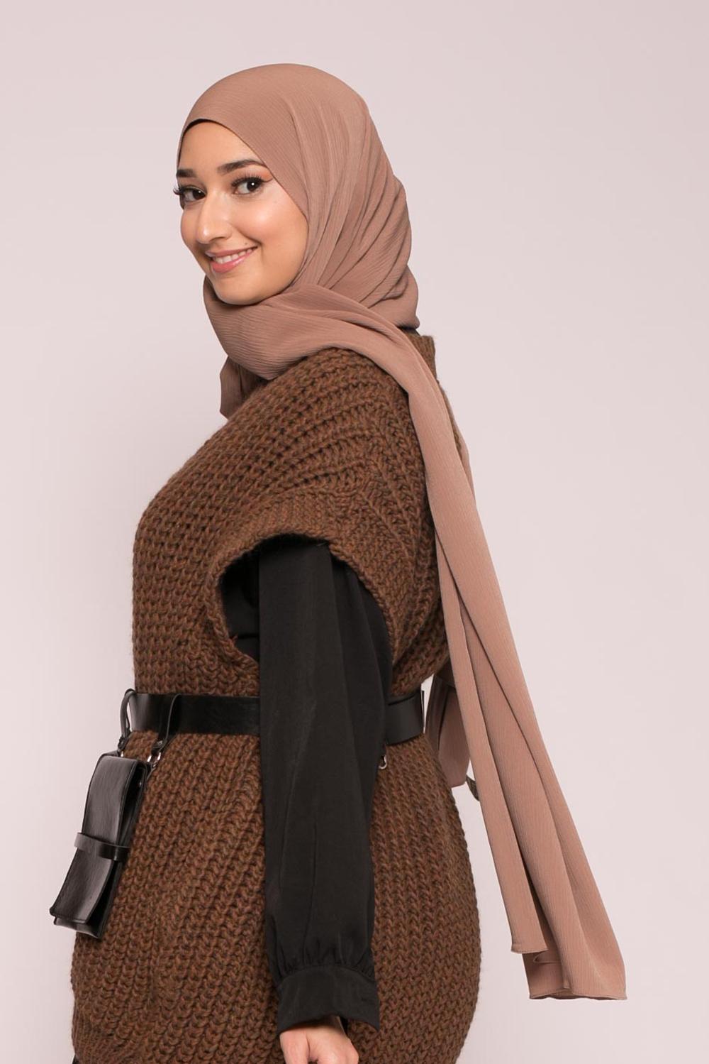 Hijab sedef krinkle chataigne