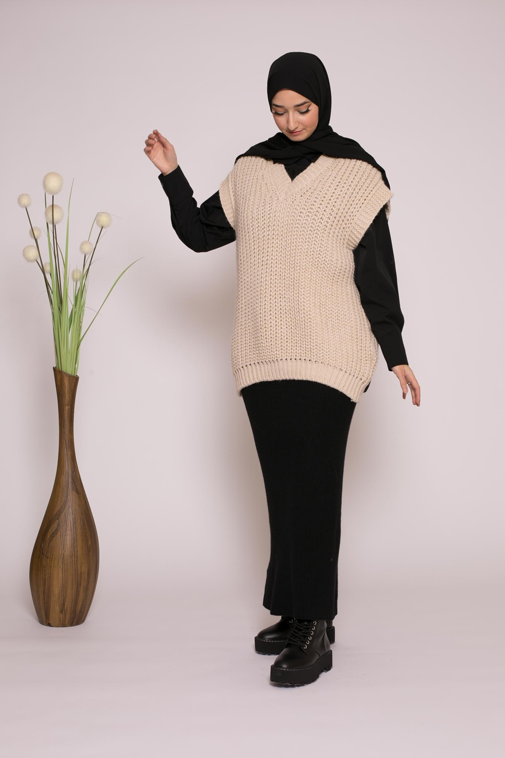Pull tricot maille beige boutique musulmane