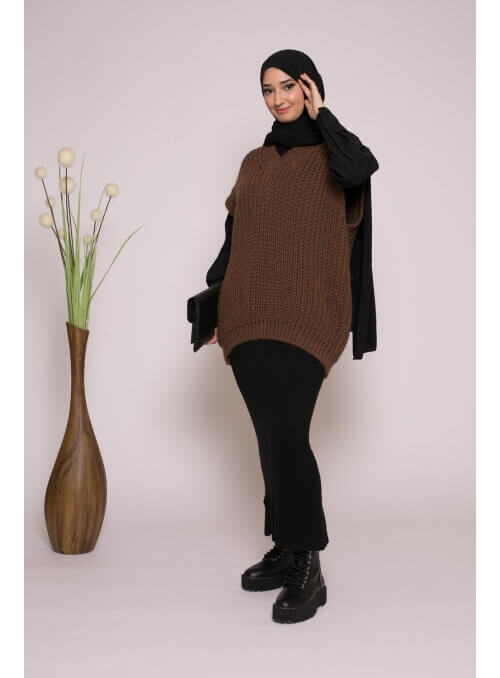 Pull tricot maille moka collection hiver femme musulmane boutique hijab