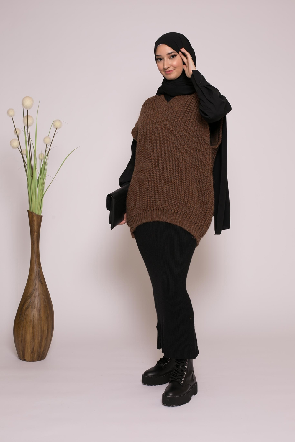 Pull tricot maille moka