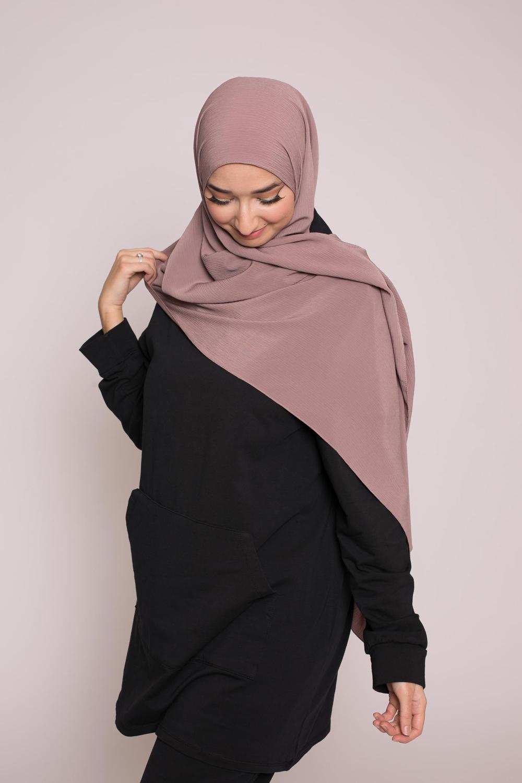 Hijab sedef krinkle taupe foncé