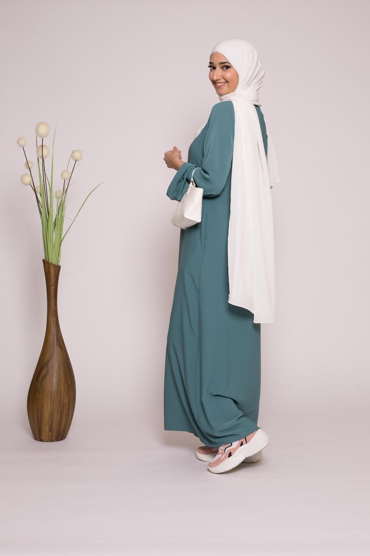 Abaya casual vert émeraude