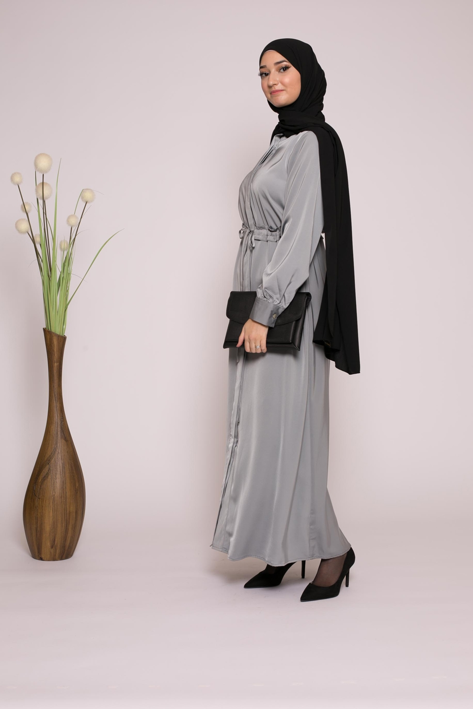 Robe chemise satiné gris