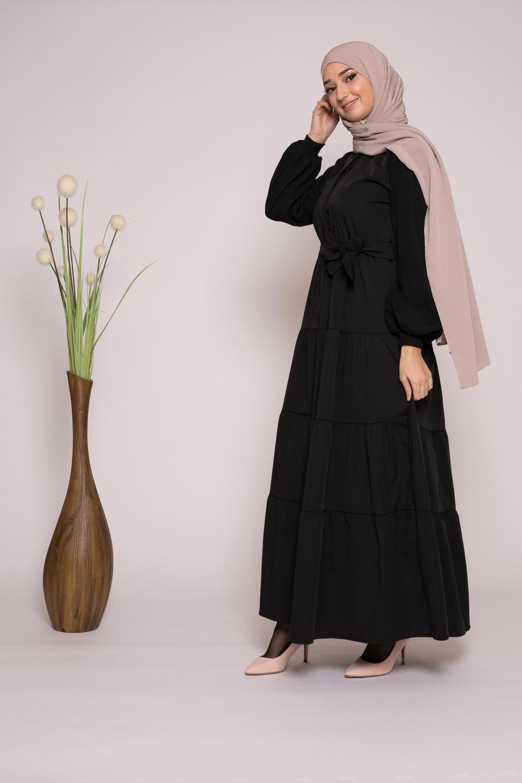 Robe bi matière noir