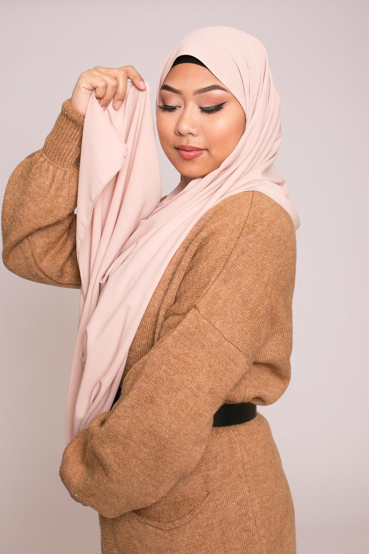 Hijab soie de médine nude