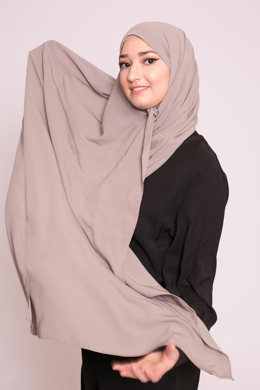 Hijab soie de médine taupe militaire