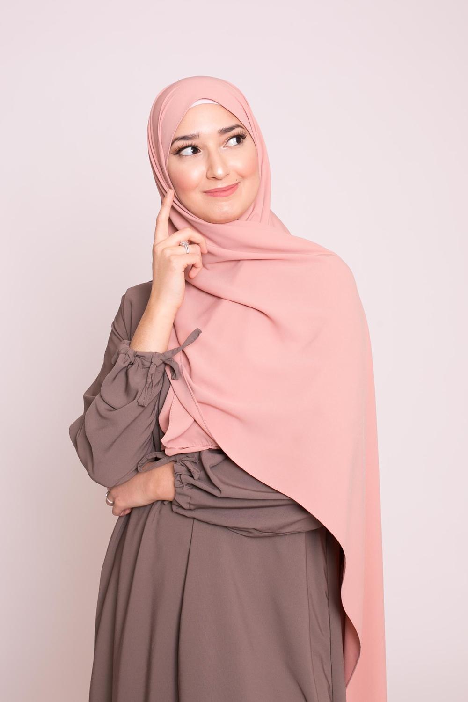Hijab soie de médine pêche clair