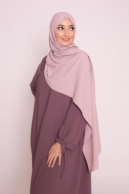 Hijab soie de médine lilas clair