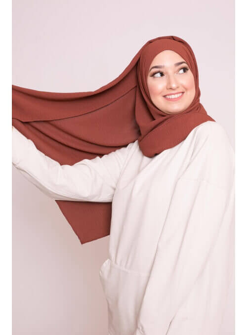 Hijab viscose brique marron boutique femme musulmaneé