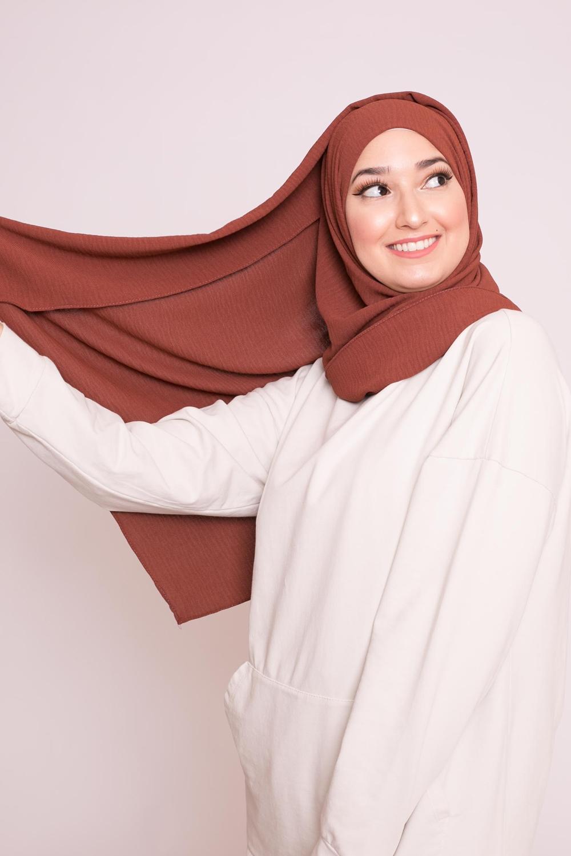 Hijab viscose brique marroné