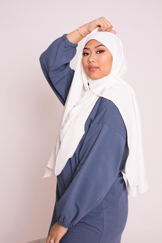 Hijab viscose blanc cassé