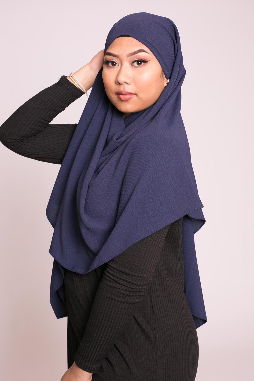 Hijab viscose bleu