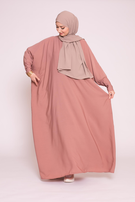 Abaya saoudienne vieux rose foncé