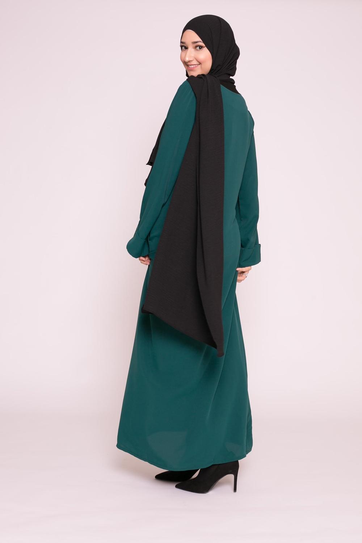 Abaya casual vert bouteille