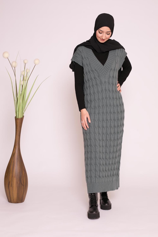 robe pull sans manche torsadé vert