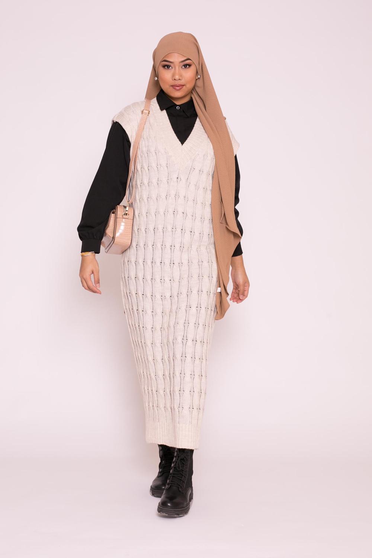 robe pull sans manche torsadé beige