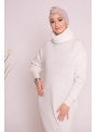 Pull robe col roulé blanc collection hiver pour femme musulmane