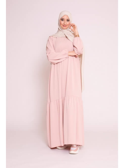 robe ample rose poudré pour femme musulmane collection printemps