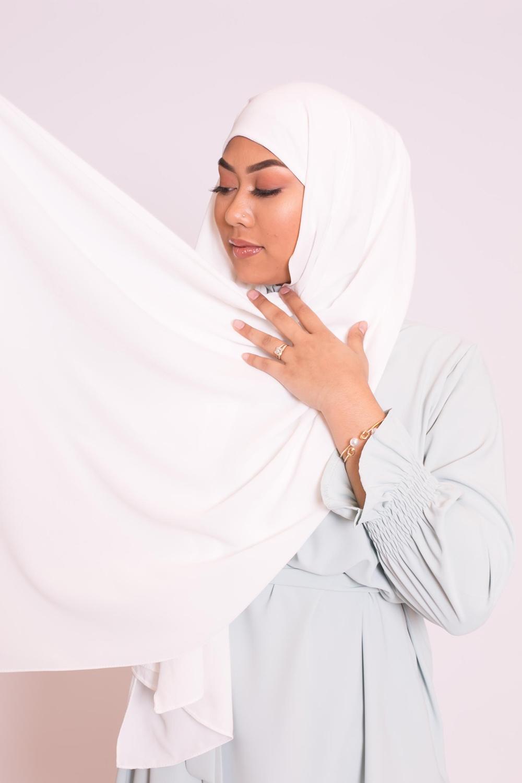 Hijab easy prêt à enfiler blanc cassé
