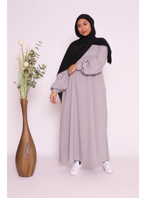Robe longue manche ballon gris collection boutique musulmane