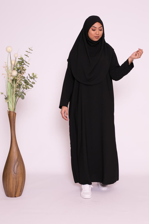 Robe hijab intégré soie de médine noir
