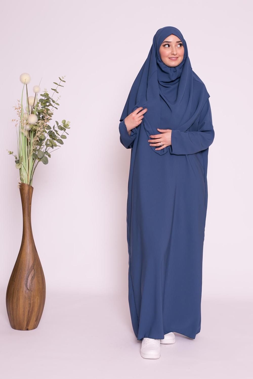 Robe hijab intégré soie médine bleu pétrole