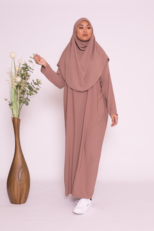 Robe hijab intégré soie de médine chataigne