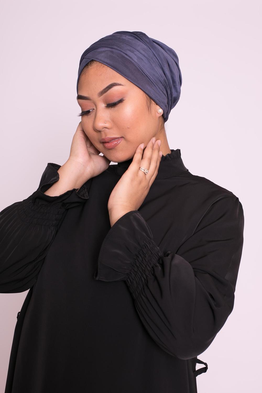 Turban simili daim bleu