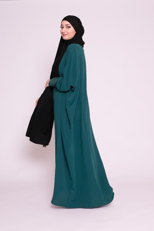 Abaya papillon vert bouteille