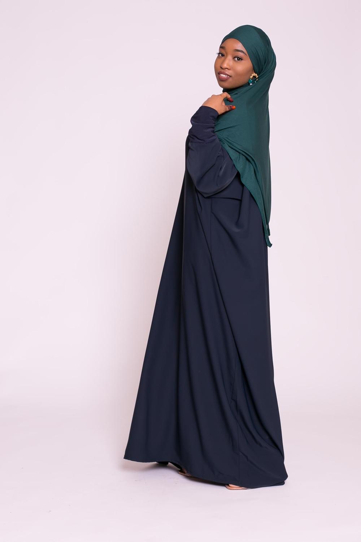 Abaya papillon bleu foncé