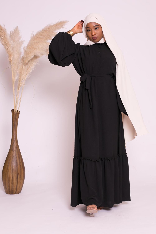 Robe manche ballon bohème noir