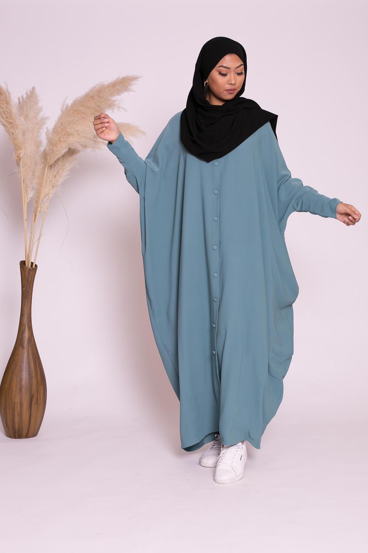 Abaya farasha faux boutons bleu vert