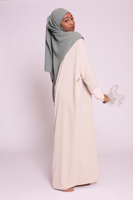 Abaya papillon beige