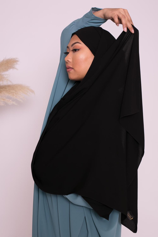 Hijab prêt à nouer soie de médine noir