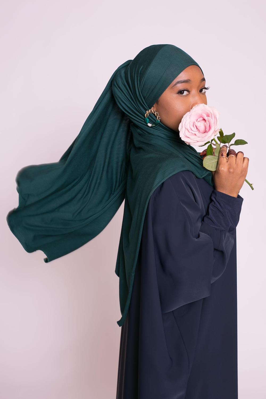 Hijab jersey luxe soft prêt à nouer vert bouteille